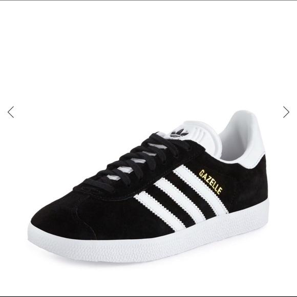Women's Black & White Gazelle Shoes w/ Gold Accent